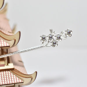 """Gray Flowers Blossom"" silver hair stick Hair Pin"